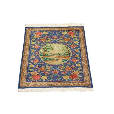 One-of-a-Kind Wollano Stain-resistant Persian Hand Woven Silk Navy Blue Oriental Area Rug