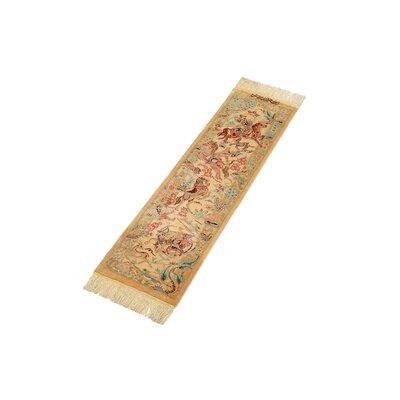 One of a Kind Qom Persian Runner Hand Woven Silk Cream Area Rug