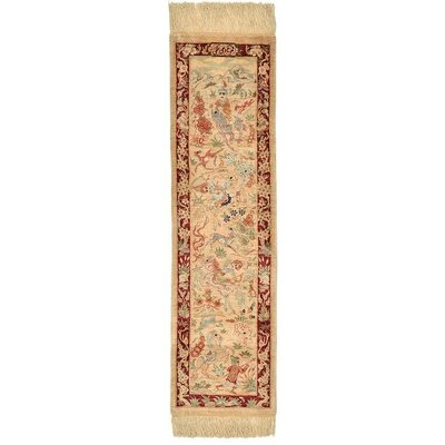 One of a Kind Qom Persian Runner Hand Woven Silk Cream Area Rug