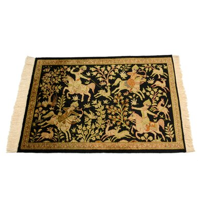 One of a Kind Qom Persian Hand Woven Silk Black Area Rug