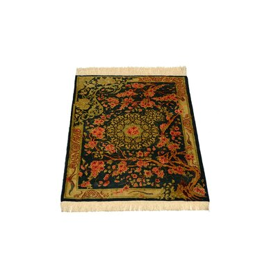 One-of-a-Kind Wollano Persian Hand Woven Silk Hunter Green Area Rug