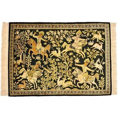 One of a Kind Qom Persian Hand Woven Silk Navy Blue Area Rug