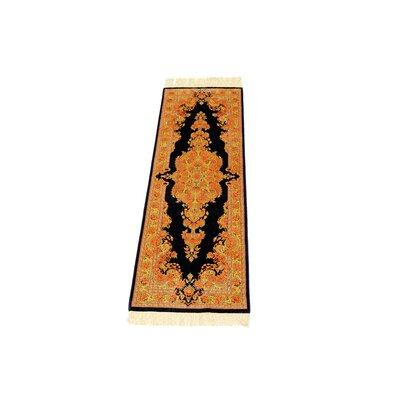One-of-a-Kind Wollano Persian Runner Hand Woven Silk Black Area Rug