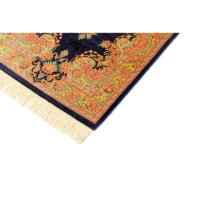 One-of-a-Kind Wollano Traditional Persian Hand Woven Silk Runner Navy Blue Area Rug