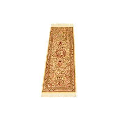 One-of-a-Kind Wollano Stain-resistant Persian Runner Hand Woven Silk Cream Area Rug