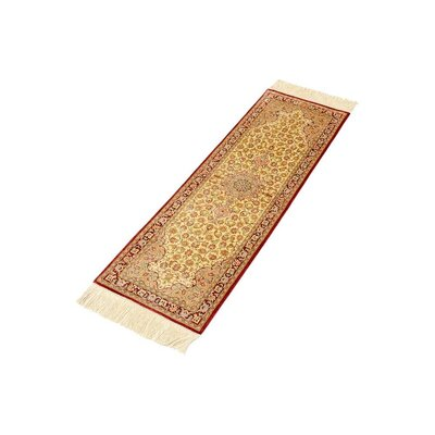 One-of-a-Kind Wollano Persian Hand Woven Silk Runner Salmon Area Rug