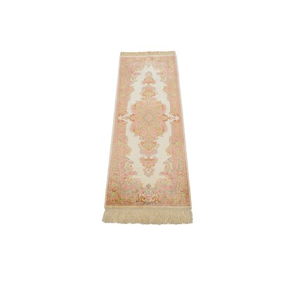 One-of-a-Kind Wollano Persian Runner Hand Woven 100% Silk Cream Area Rug