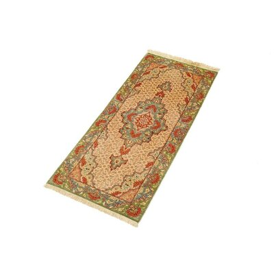 One-of-a-Kind Wollano Persian Runner Hand Woven Silk Cream Area Rug