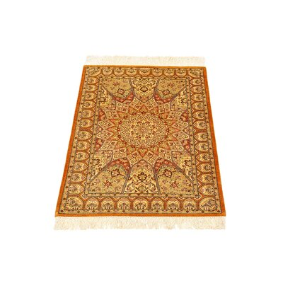 One-of-a-Kind Wollano Fade/Stain-resistant Persian Hand Woven Silk Cream Area Rug