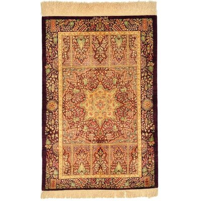 One of a Kind Qom Persian Hand Woven Silk Cream Area Rug