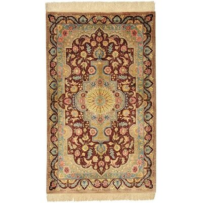 One of a Kind Qom Persian Hand Woven Silk Burgundy Area Rug