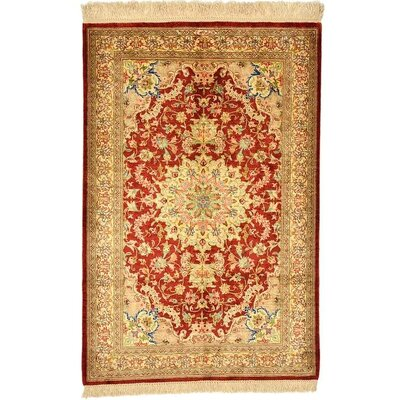 One of a Kind Qom Persian Hand Woven Silk Rust Red Area Rug