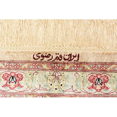One-of-a-Kind Wollano Persian Hand Woven Silk Rectangle Cream Oriental Area Rug with Fringe