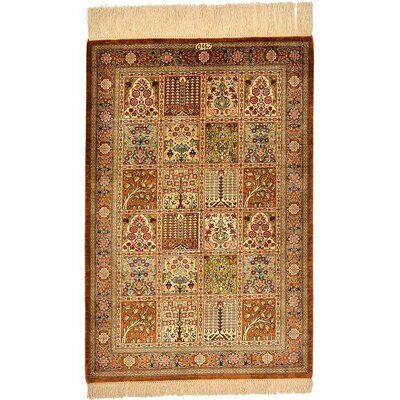 One-of-a-Kind Wollano Traditional Persian Hand Woven Silk Rectangle Cream Oriental Area Rug