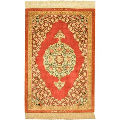 One-of-a-Kind Wollano Persian Hand Woven Silk Rust Red Area Rug