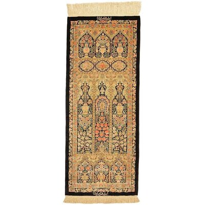 One-of-a-Kind Wollano Traditional Persian Runner Hand Woven Silk Cream Area Rug