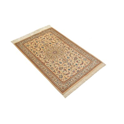 One-of-a-Kind Breno Persian Hand Woven Silk Rectangle Cream Area Rug
