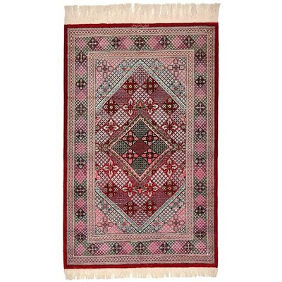 One-of-a-Kind Wollano Persian Hand Woven Silk Burgundy Oriental Area Rug