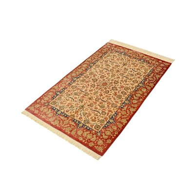 One-of-a-Kind Wollano Persian Hand Knotted Silk Cream Area Rug