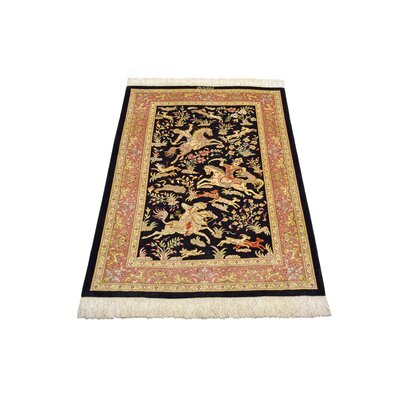 One-of-a-Kind Wollano Persian Hand Woven Silk Black Oriental Area Rug