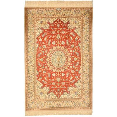 One-of-a-Kind Wollano Stain-resistant Persian Hand Woven Silk Rust Red Area Rug