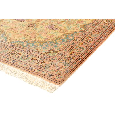 One-of-a-Kind Wollano Traditional Persian Hand Woven Silk Cream Area Rug