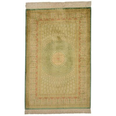 One-of-a-Kind Wollano Persian Hand Woven Silk Rectangle Hunter Green Area Rug