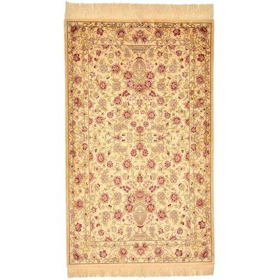One-of-a-Kind Wollano Stain-resistant Persian Hand Woven Silk Cream Area Rug