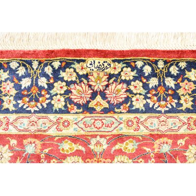 One-of-a-Kind Wollano Persian Hand Woven Silk Rectangle Burgundy Area Rug
