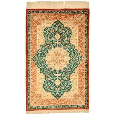 One-of-a-Kind Wollano Fade Resistant Persian Hand Woven Silk Cream Area Rug