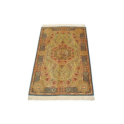One-of-a-Kind Wollano Stain-resistant Persian Hand Woven Wool Cream Area Rug with Fringe