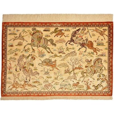 One-of-a-Kind Wollano Persian Hand Woven Silk Beige/Brown Area Rug
