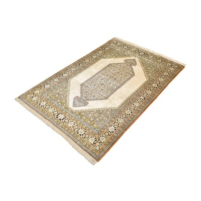 One-of-a-Kind Wollano Traditional Fade Resistant Persian Hand Woven Wool Cream Area Rug