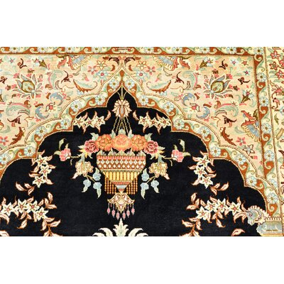 One-of-a-Kind Wollano Persian Hand Woven Silk Rectangle Black Area Rug