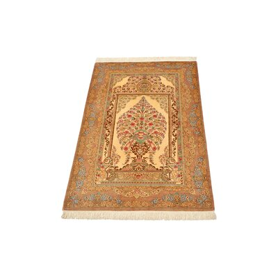 One-of-a-Kind Wollano Stain-resistant Persian Hand Knotted Silk Cream Area Rug