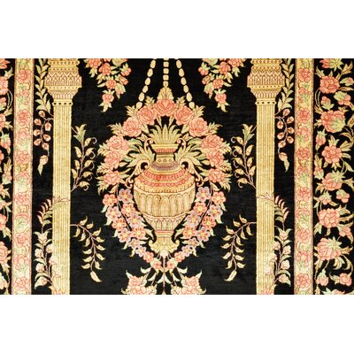 One-of-a-Kind Wollano Persian Hand Woven 100% Silk Black Area Rug