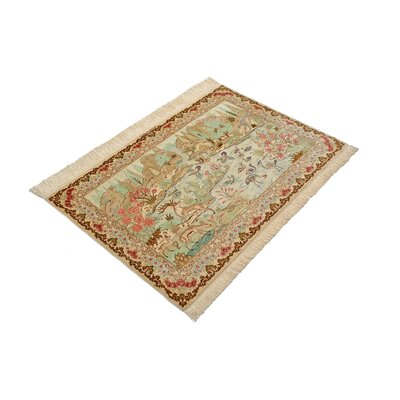 One-of-a-Kind Wollano Fade Resistant Persian Hand Woven Silk Rectangle Cream Oriental Area Rug