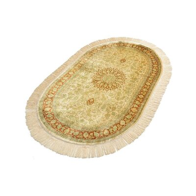 One-of-a-Kind Wollano Persian Oval Hand Woven Silk Cream Area Rug