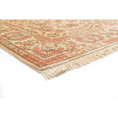 One-of-a-Kind Wollano Traditional Persian Hand Woven 100% Silk Rectangle Cream Area Rug