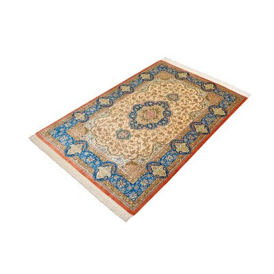 One-of-a-Kind Wollano Stain-resistant Persian Hand Woven 100% Silk Rectangle Cream Area Rug