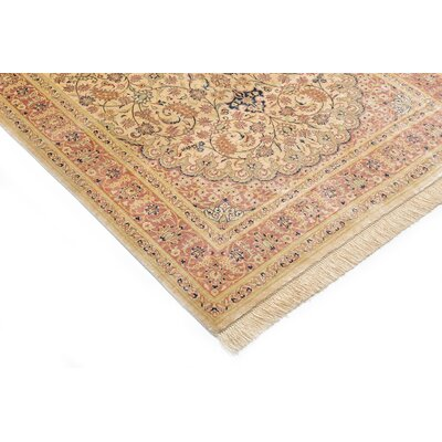 One-of-a-Kind Bellingdon Persian Hand Woven Silk Rectangle Cream Area Rug with Fringe