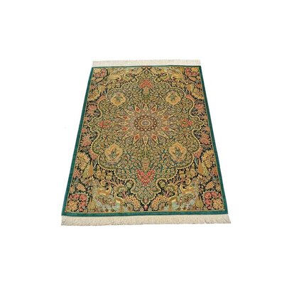 One-of-a-Kind Wollano Traditional Persian Hand Woven Silk Green Area Rug