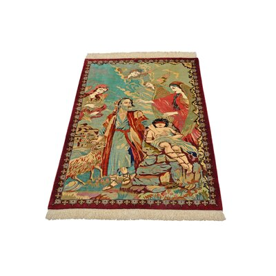 One-of-a-Kind Bellingdon Persian Hand Woven Silk Blue Area Rug