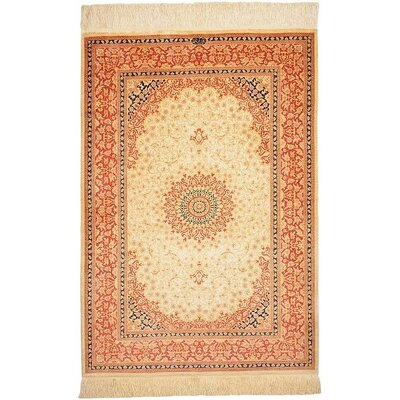 One-of-a-Kind Wollano Fade Resistant Persian Hand Woven 100% Silk Rectangle Cream Area Rug