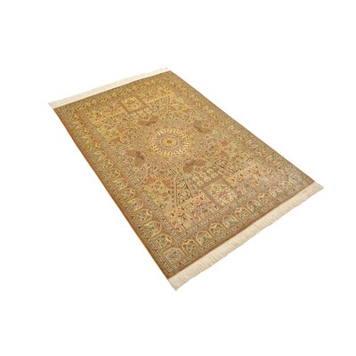 One-of-a-Kind Wollano Traditional Stain-resistant Persian Hand Woven Silk Rectangle Cream Area Rug