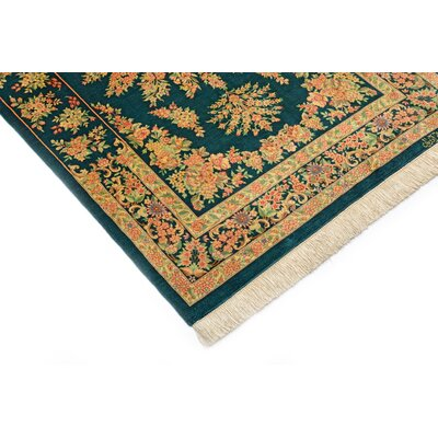 One-of-a-Kind Wollano Persian Hand Woven Silk Hunter Area Rug