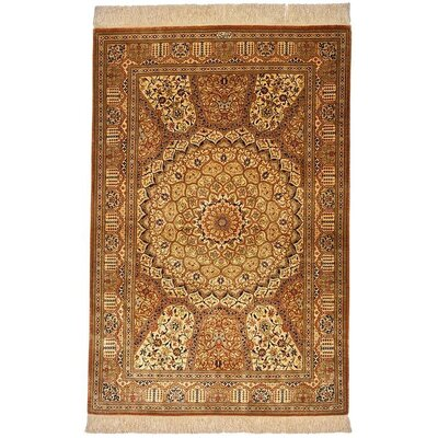 One-of-a-Kind Wollano Traditional Fade Resistant Persian Hand Woven Silk Rectangle Cream Area Rug