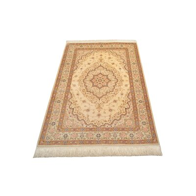One-of-a-Kind Breno Traditional Persian Hand Woven Silk Cream Area Rug