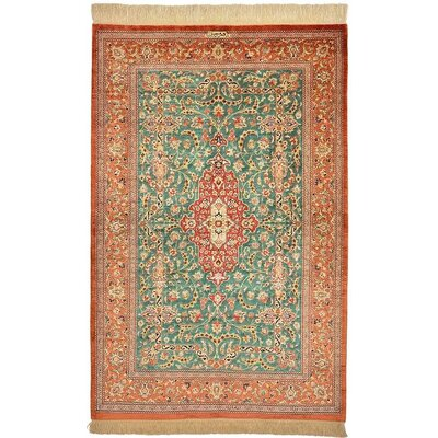 One-of-a-Kind Wollano Persian Hand Woven Silk Light Peach Area Rug