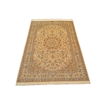 One-of-a-Kind Wollano Stain-resistant Persian Hand Woven Silk Rectangle Cream Area Rug with Fringe